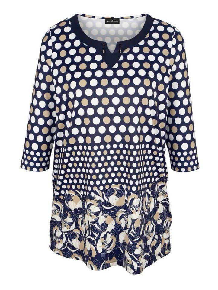 m. collection Longshirt rundum bedruckt | Bekleidung > Shirts > Longshirts | Blau | Polyester | m. collection