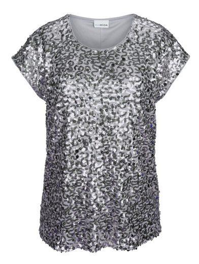 MIAMODA Shirt mit Pailletten bestickt