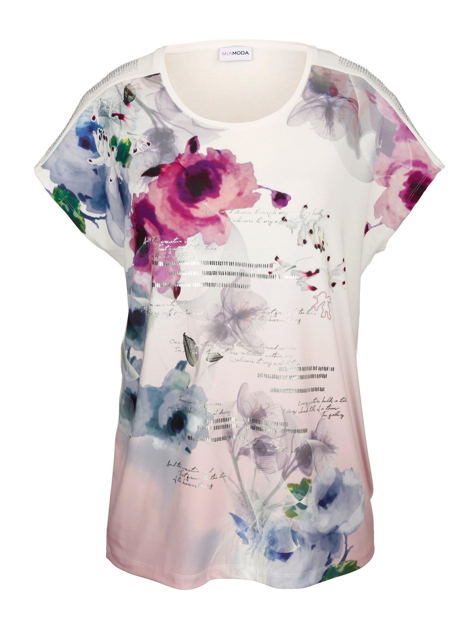 Ajc Oversize-shirt Mit Statement-print Und Strass-steinchen Weiß