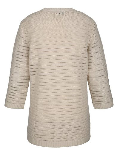 MIAMODA Pullover aus leicht transparentem Ajourstrick