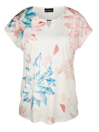 m. collection Shirt vorne mit Blumendruckmuster