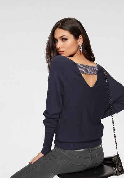 Melrose V-Ausschnitt-Pullover mit Strassband am Rückenausschnitt 5349808193