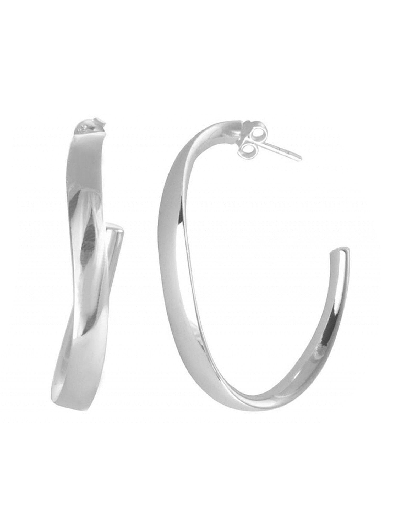 Adelia´s Paar Creolen »925 Sterling Silber Ohrringe - Creolen Oval 40 mm poliert« 925 Silber poliert