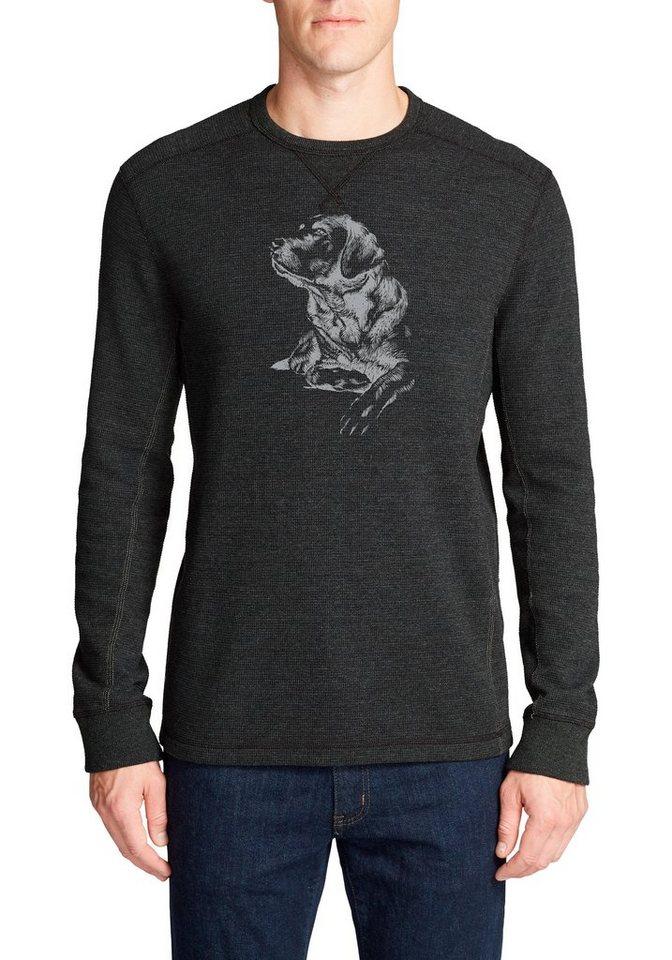 Herren Eddie Bauer Langarmshirt Waffelshirt – Man's best Friend schwarz | 04057682376394