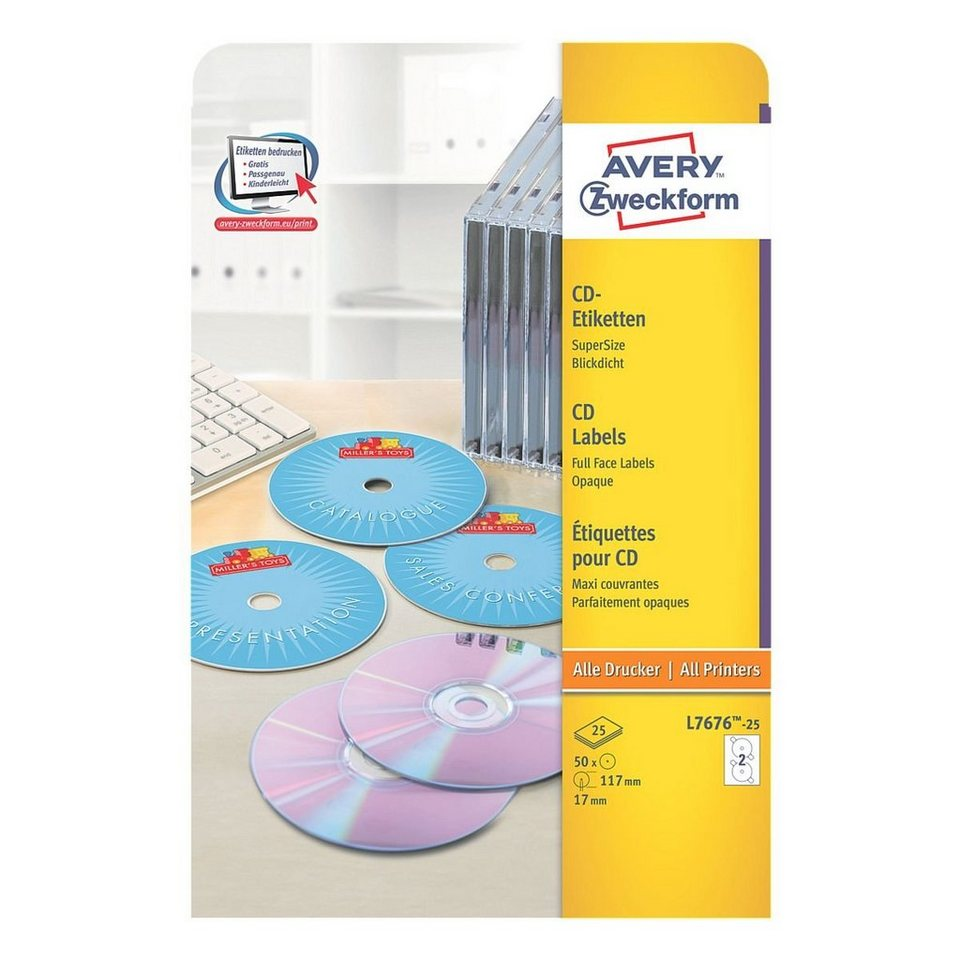 Avery Zweckform 50er-Pack CD-/DVD-Label »L7676-25«