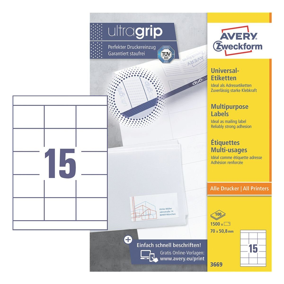 Avery Zweckform 1500er-Pack Universal Klebeetiketten »3669«