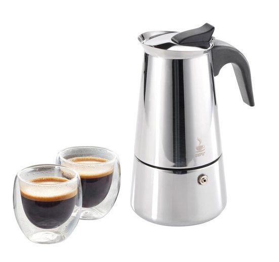 GEFU Espressokocher mit Gläsern »Jubiläumsset«