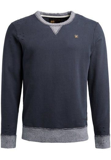 khujo Sweatshirt »PENDOR NUMBER« im Used-Look