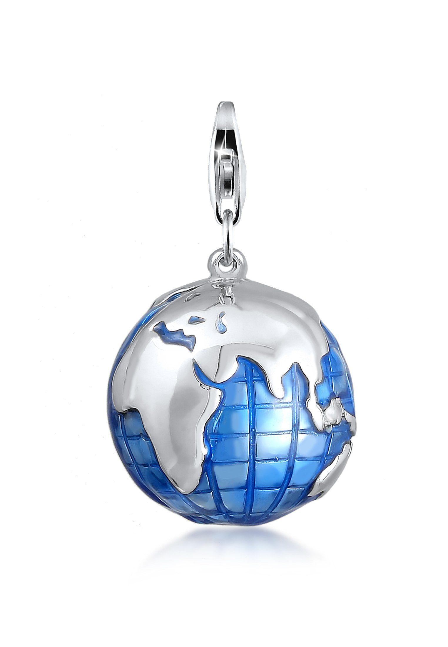 Nenalina Charm-Einhänger »Anhänger Globus Weltkugel Emaille 925 Silber«