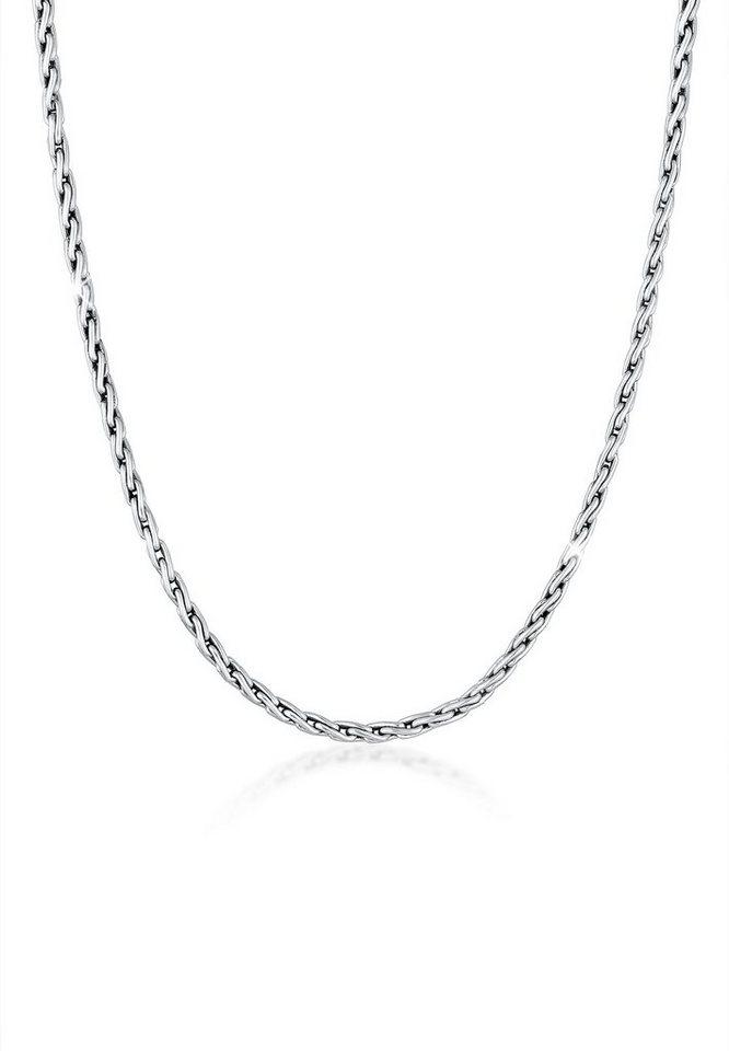 Kuzzoi Silberkette »Männer Zopfkette Oxidiert Massiv 925