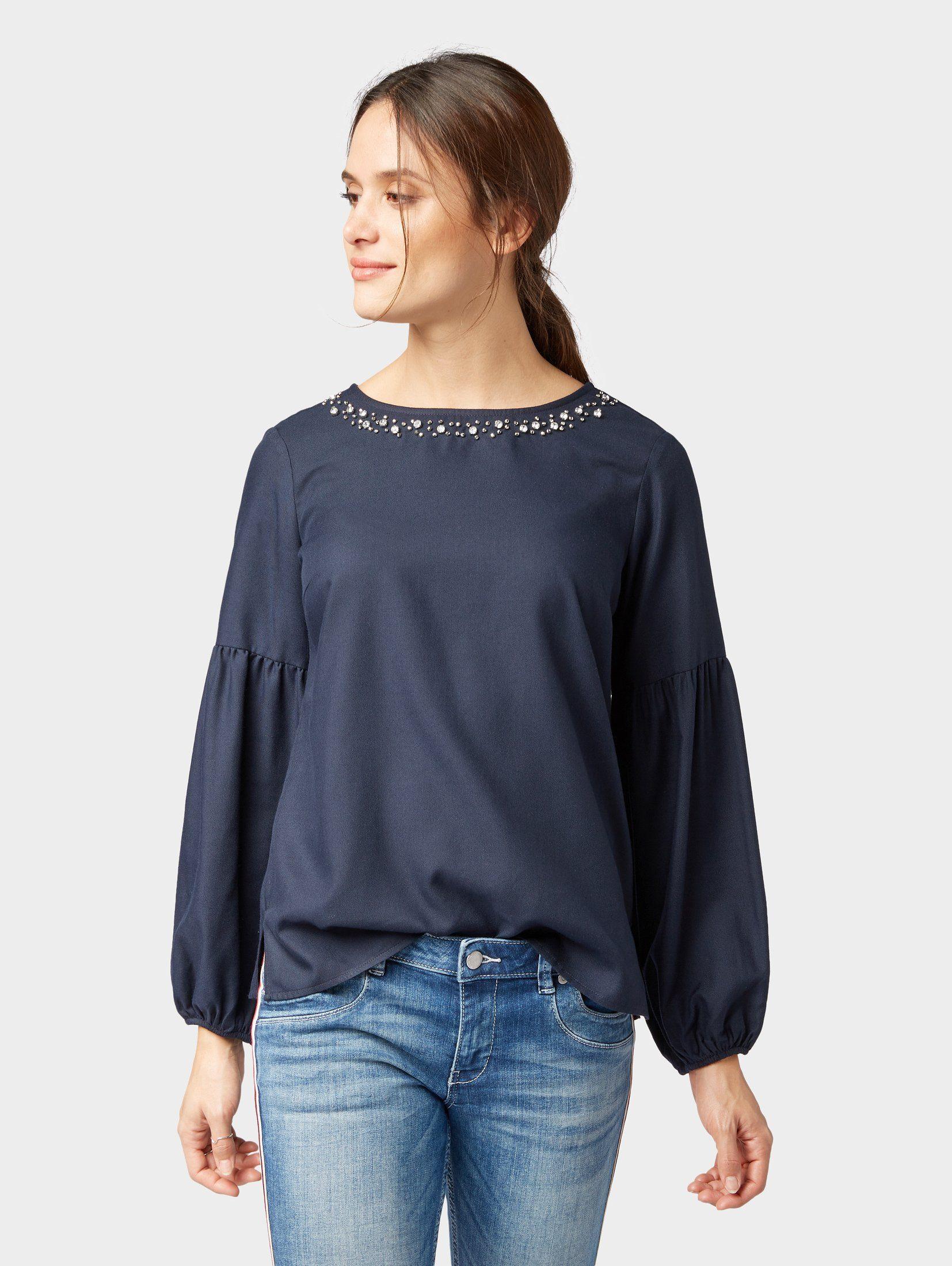 TOM TAILOR Shirtbluse »Bluse mit Perlen-Applikation«