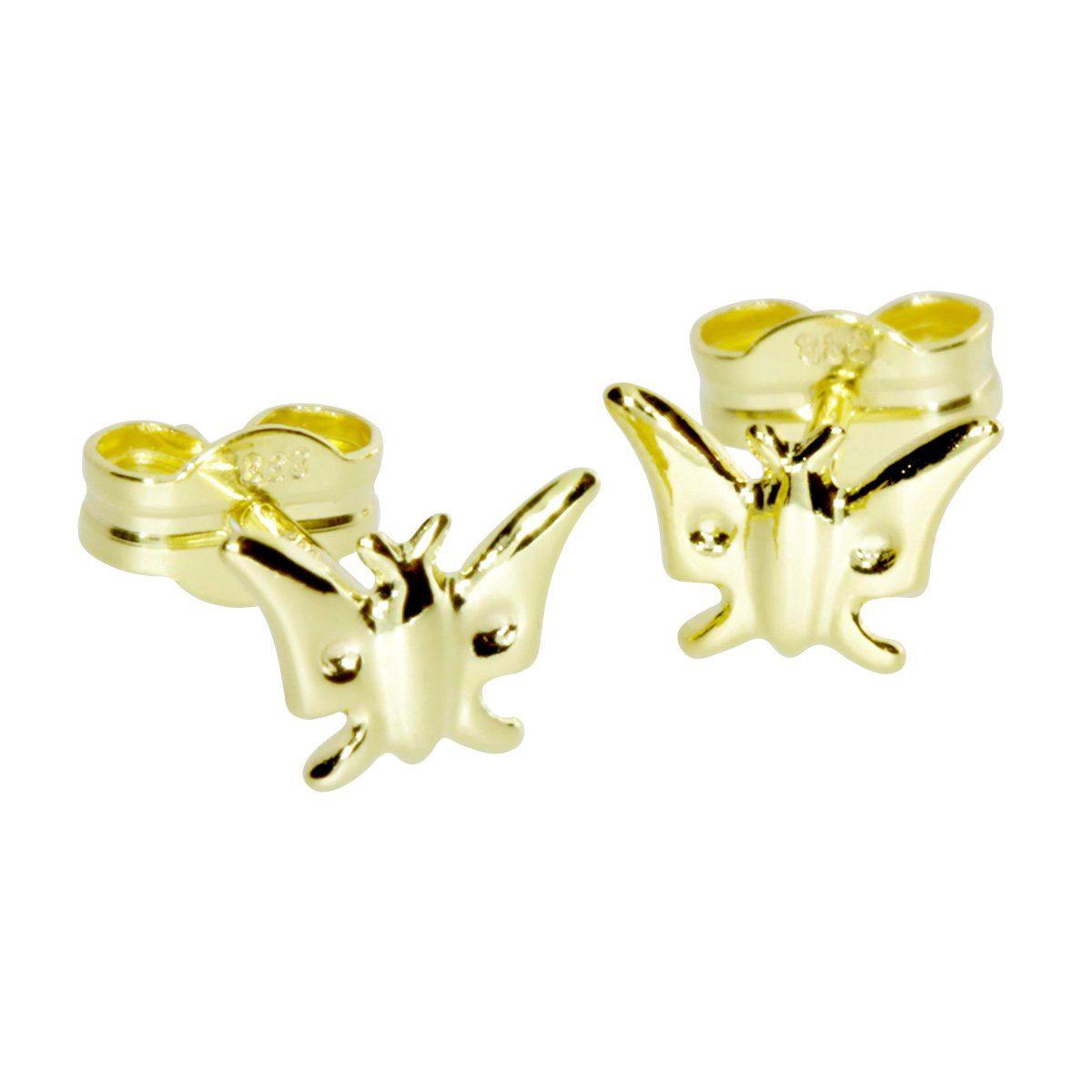 OSTSEE-SCHMUCK Paar Ohrstecker »Schmetterling Gold 333/000«