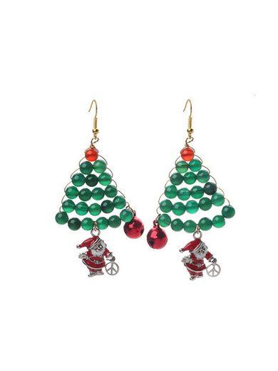 Adelia´s Paar Ohrhänger »Weihnachtsbaum aus Achat und Karneol«, Weihnachtsschmuck