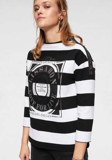 Monari Oversize-Shirt mit Streifen und Glanzprint