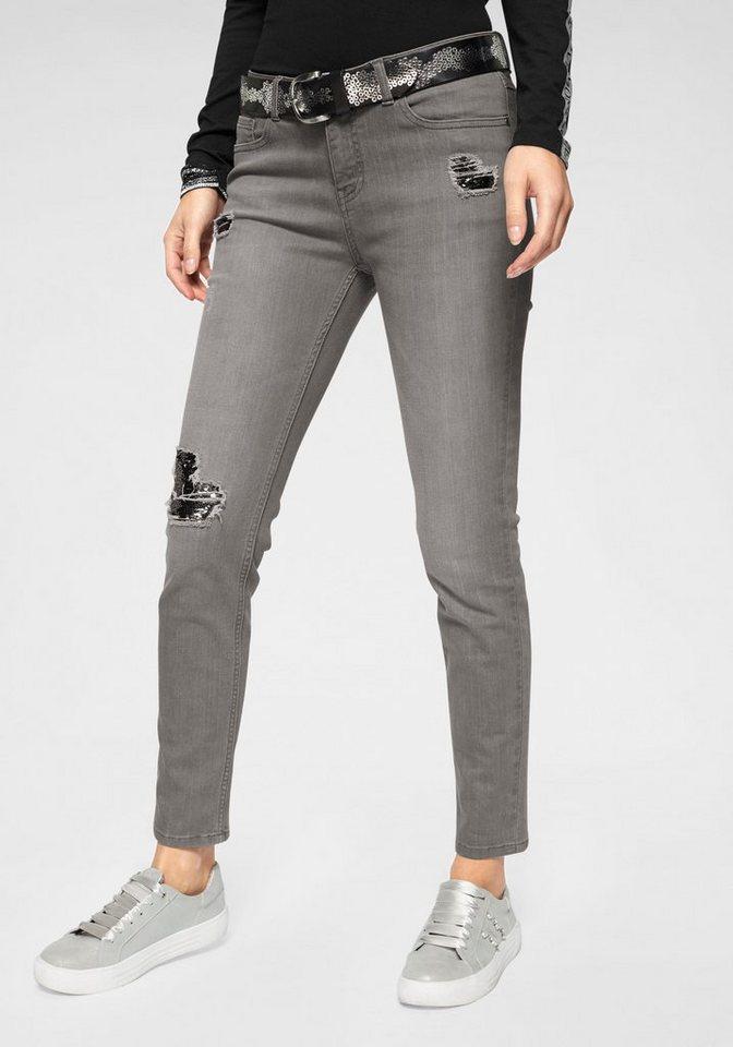 Monari Destroyed-Jeans mit Paillettendetails | Bekleidung > Jeans > Destroyed Jeans | Grau | Monari
