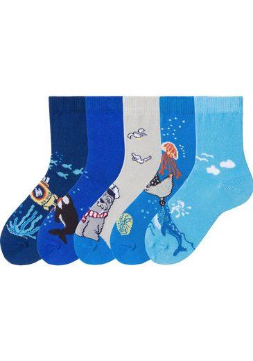 Arizona Socken (5 Paar) mit Meeresmotiven