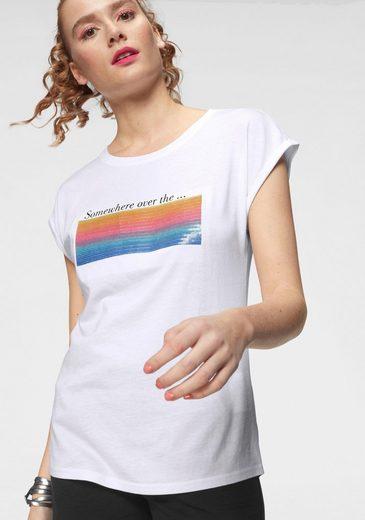 AJC T-Shirt mit Pailletten im Regenbogen-Design