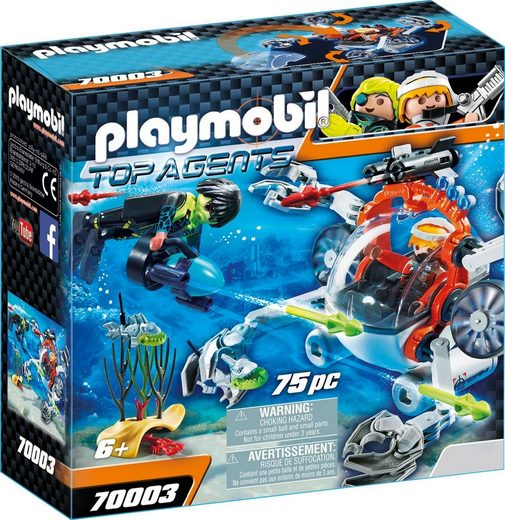 Playmobil® Konstruktionsspielsteine »Spy Team Sub Bot (70003), Top Agents«