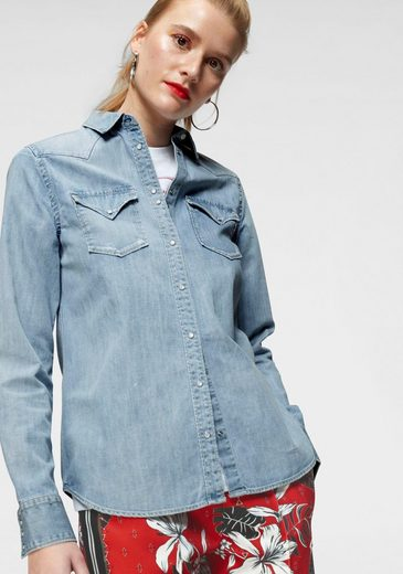 Replay Jeansbluse im leichten Used-Look