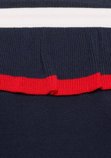 An Carmenpullover Kontrastfarbenen Rüschen Streifen Ajc Mit ZqUcF