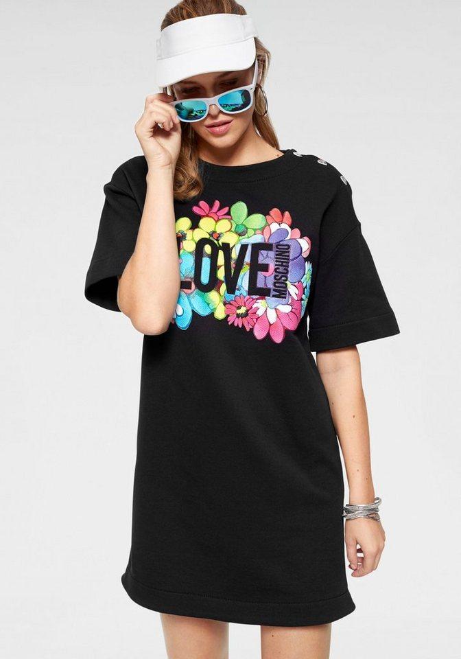 LOVE MOSCHINO Sweatkleid mit floralem Logoprint   Bekleidung > Kleider > Sweatkleider   Schwarz   LOVE MOSCHINO