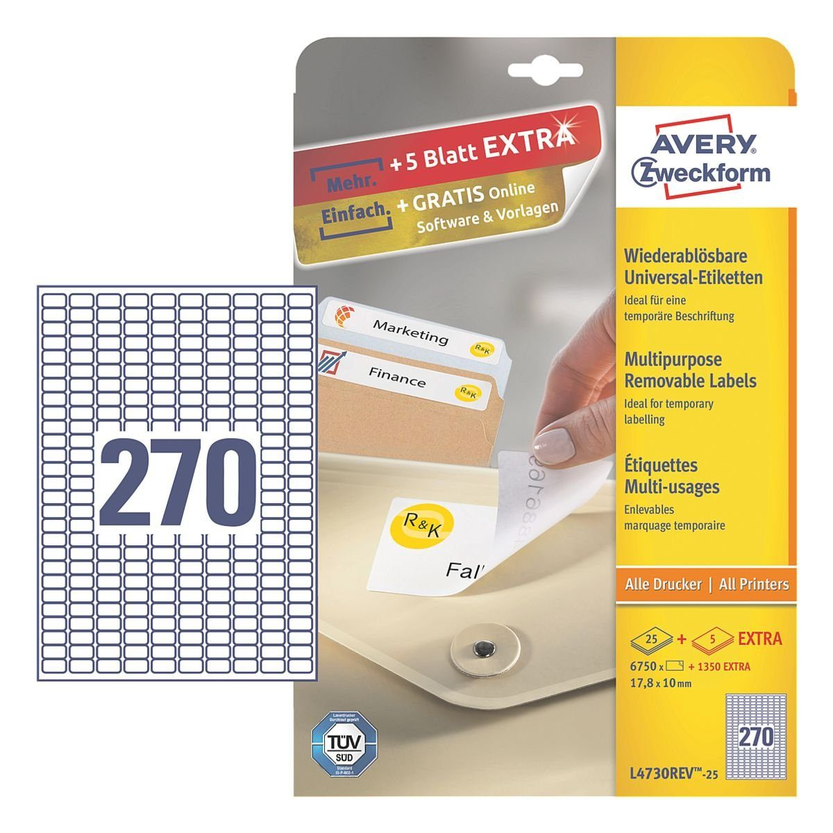 Avery Zweckform 6750er-Pack Universal Klebeetiketten »L4730REV-25«