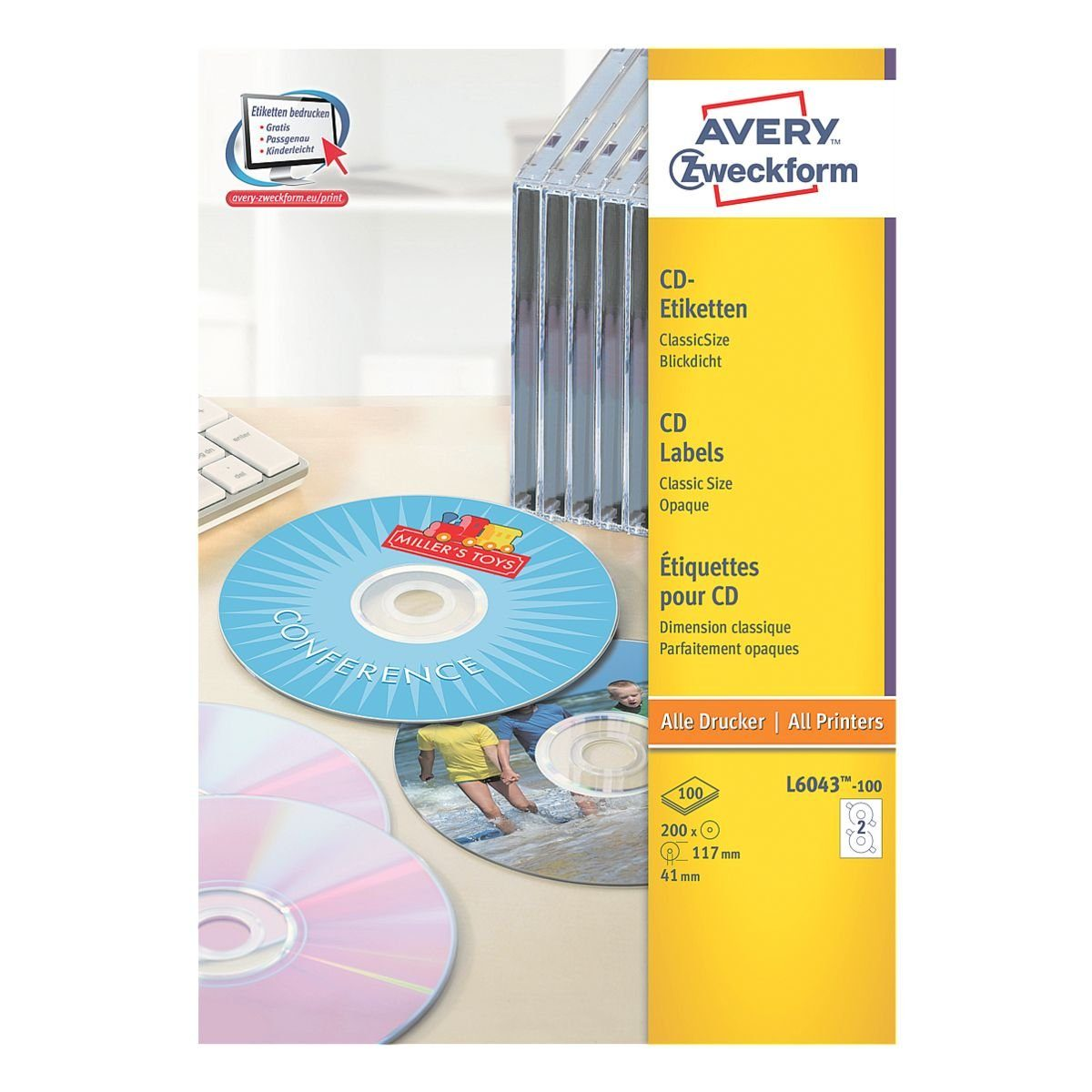 ZWECKFORMAVERY 100er-Pack CD-/DVD-Label »L6043-100«