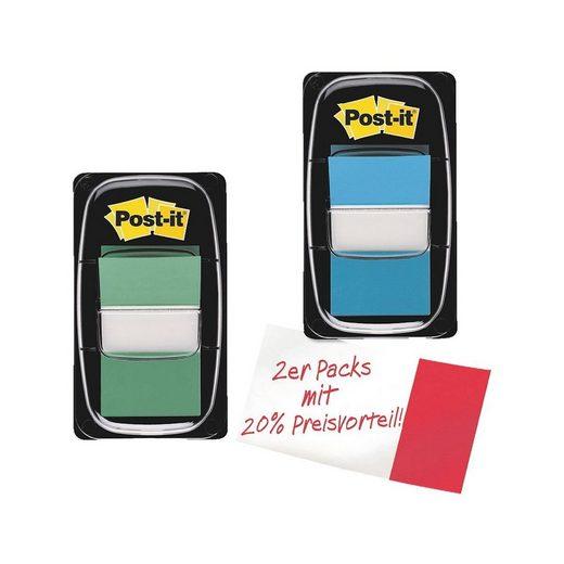 Post-it Index 2x Haftstreifen 43,2 x 25,4 mm, grün/blau »Index«