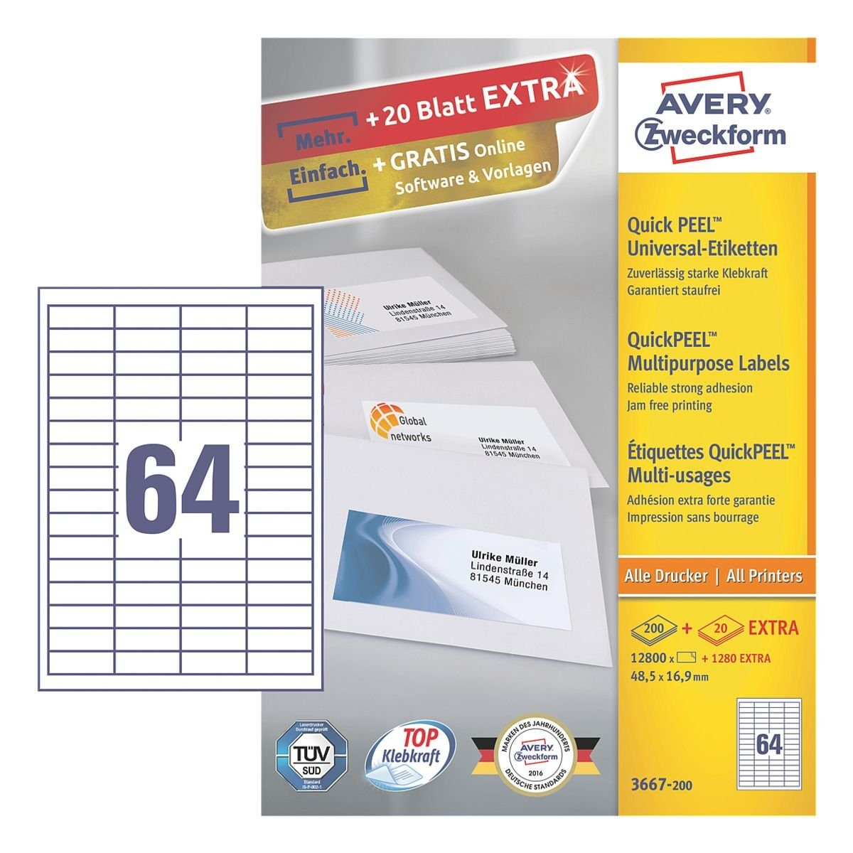 Avery Zweckform 14080er-Pack Universal Klebeetiketten »3667-200«