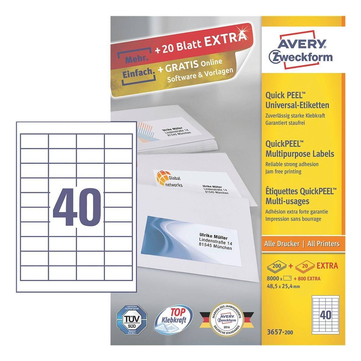 Avery Zweckform 8000er-Pack Universal Klebeetiketten »3657-200«