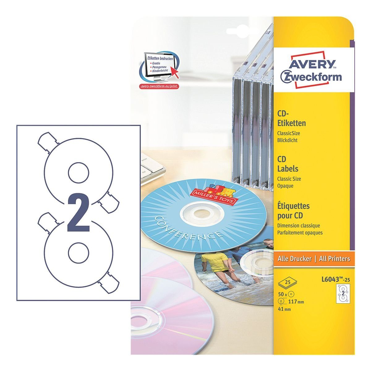 Avery Zweckform 50er-Pack CD-/DVD-Label »L6043-25«