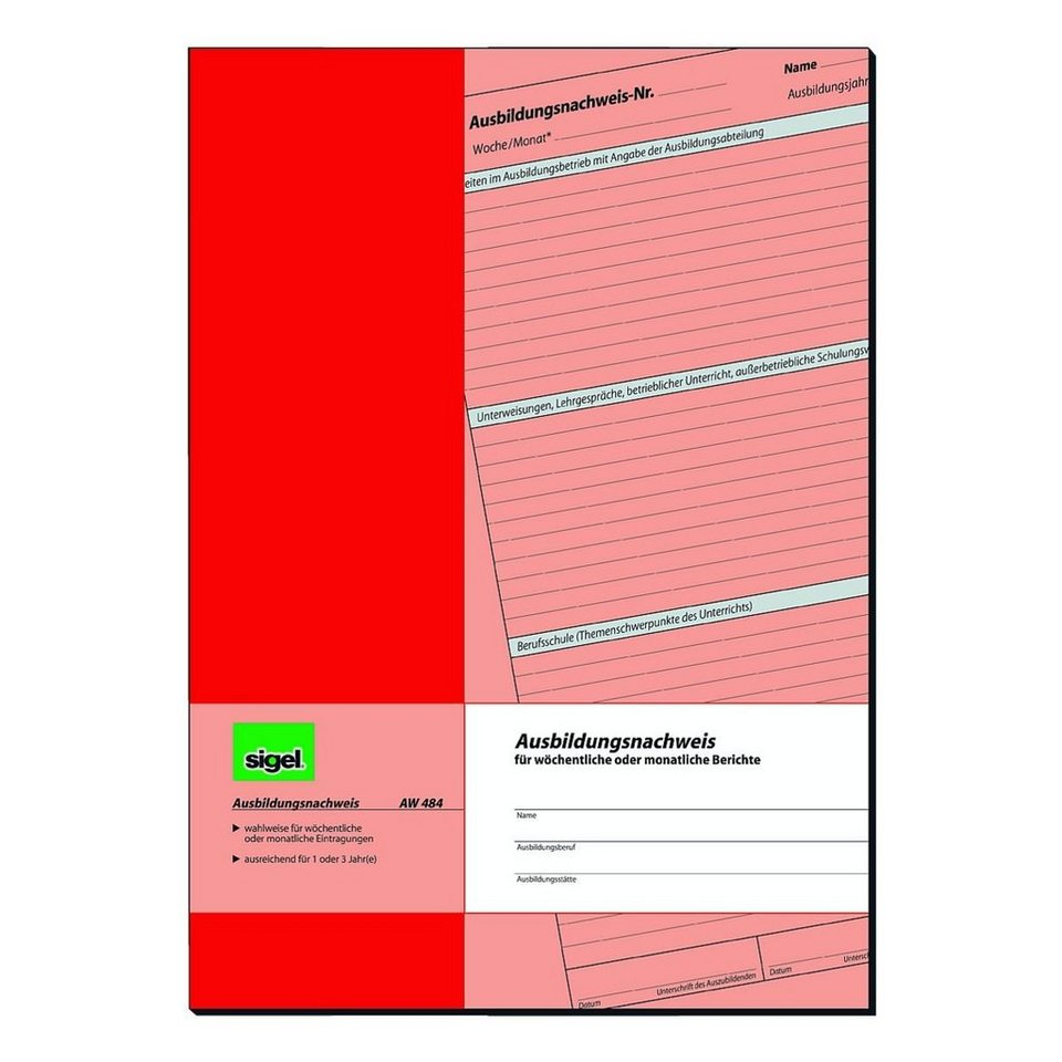 Sigel Formularvordrucke »Ausbildungsnachweis«
