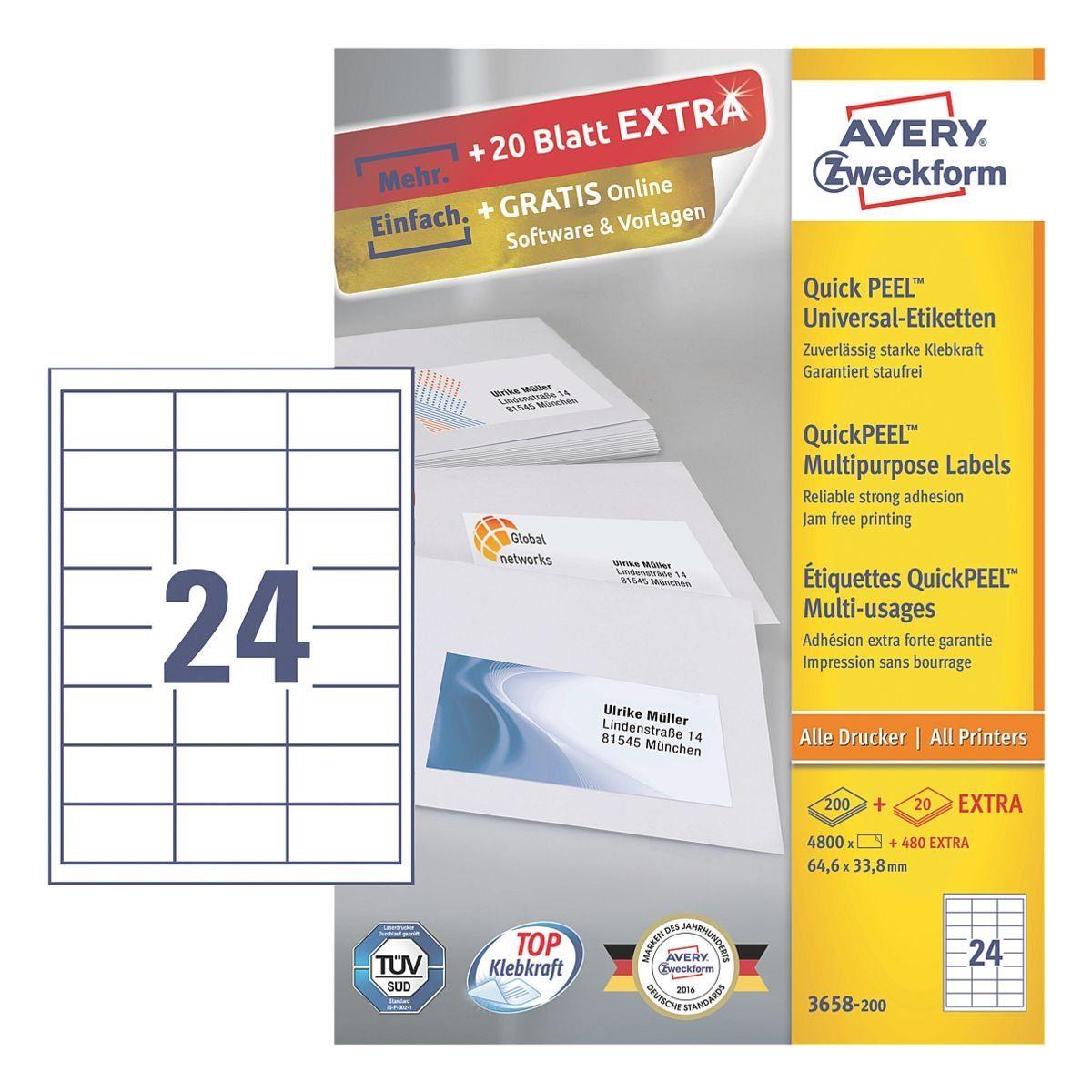 Avery Zweckform 5280er-Pack Universal Klebeetiketten »3658-200«