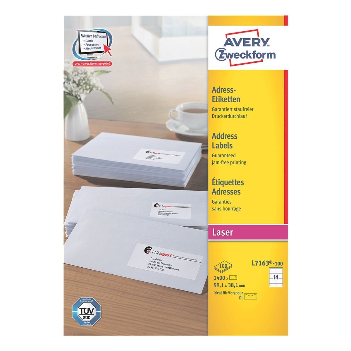 Avery Zweckform 1400er-Pack Adressaufkleber »L7163-100«