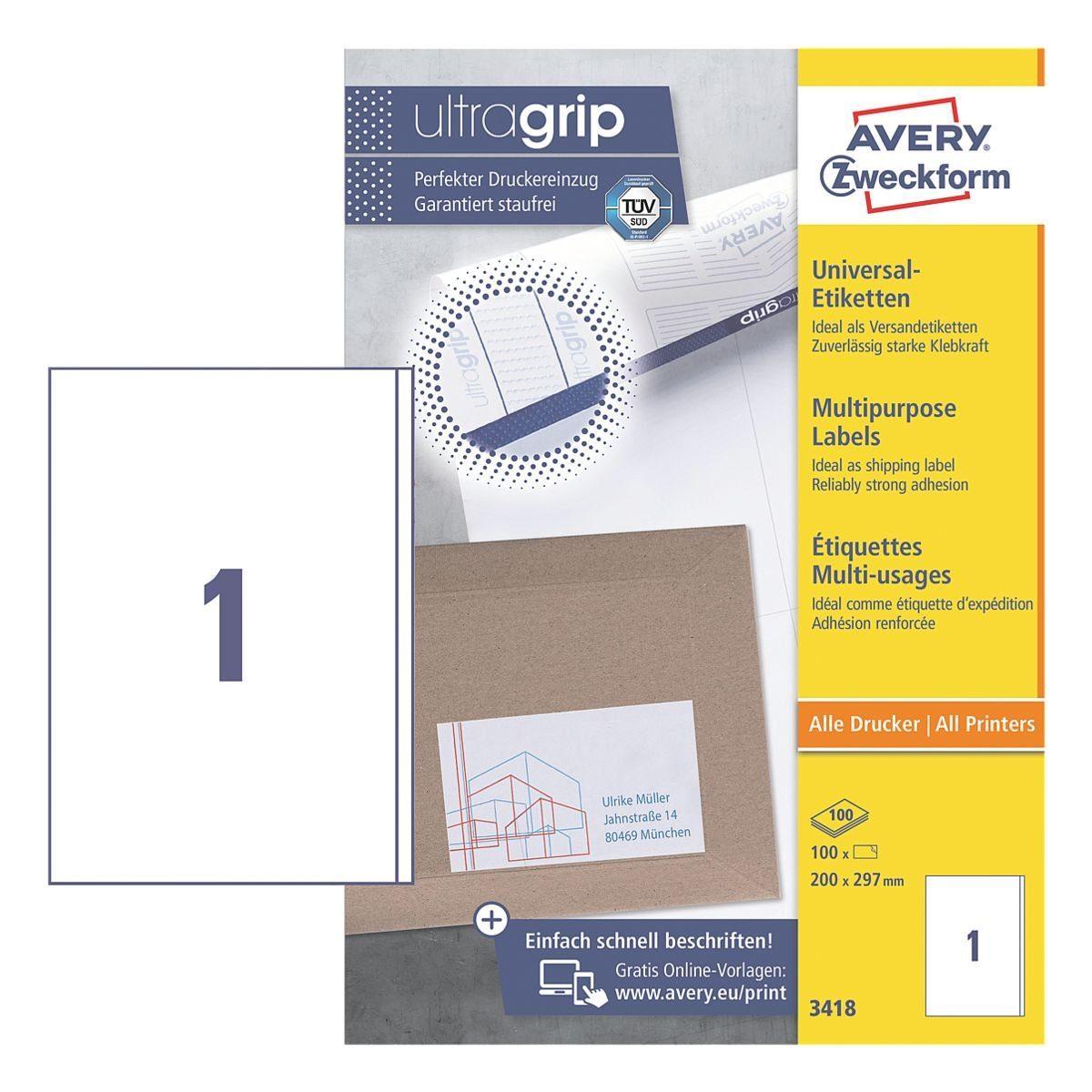 Avery Zweckform 100er-Pack Universal Klebeetiketten »3418«