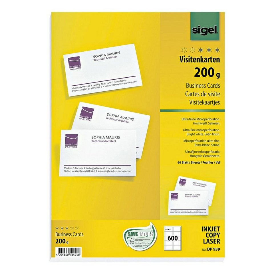 Sigel Visitenkarten Dp939 Weissformatz
