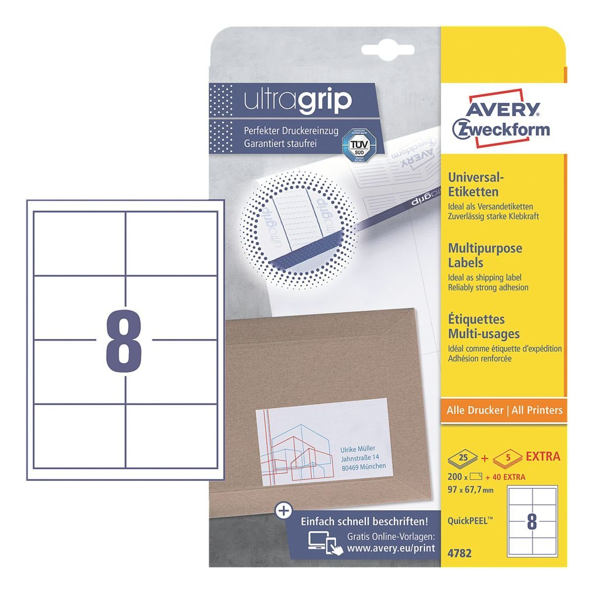 Avery Zweckform 240er-Pack Universal Klebeetiketten »4782«