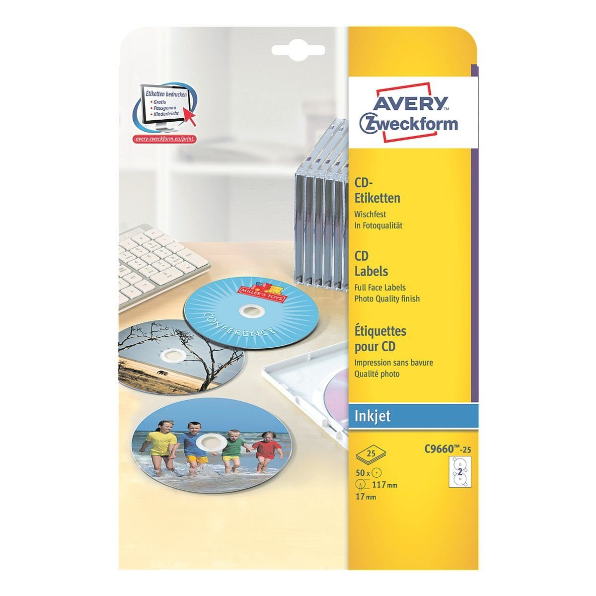 Avery Zweckform 50er-Pack CD-/DVD-Label »C9660-25«