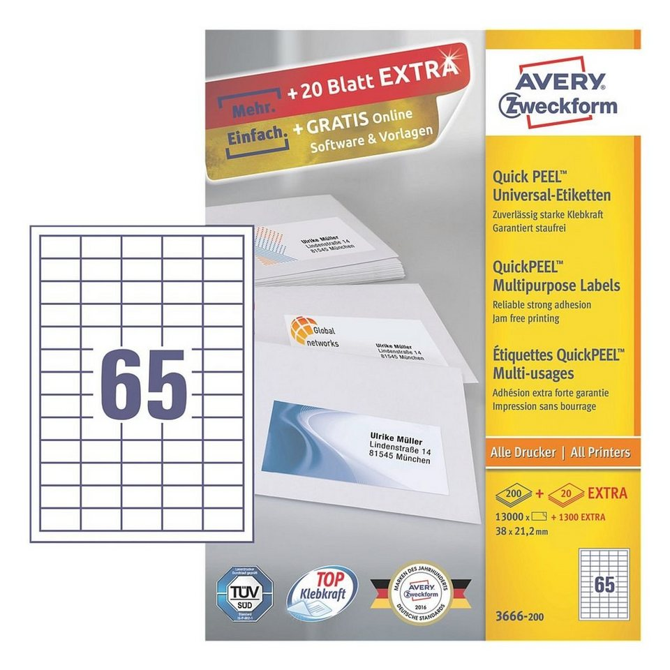 Avery Zweckform 13000er-Pack Universal Klebeetiketten »3666-200«