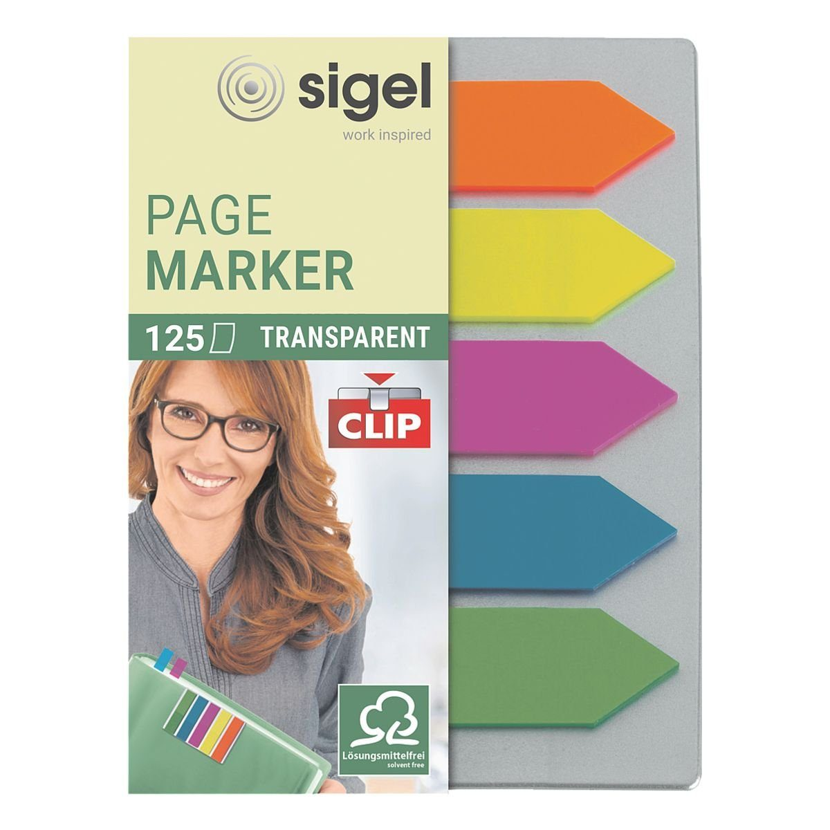 Sigel Haftmarker HN611 50 x 12 mm, mit Clip »Transparent Pfeil«