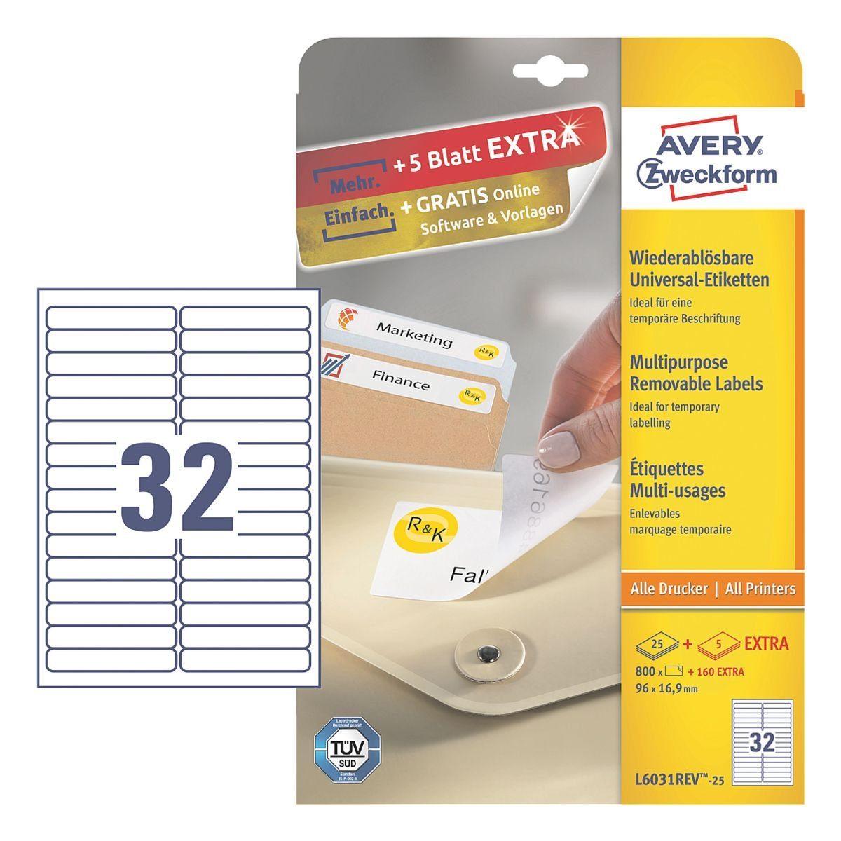 Avery Zweckform 960er-Pack Universal Klebeetiketten »L6031REV-25«