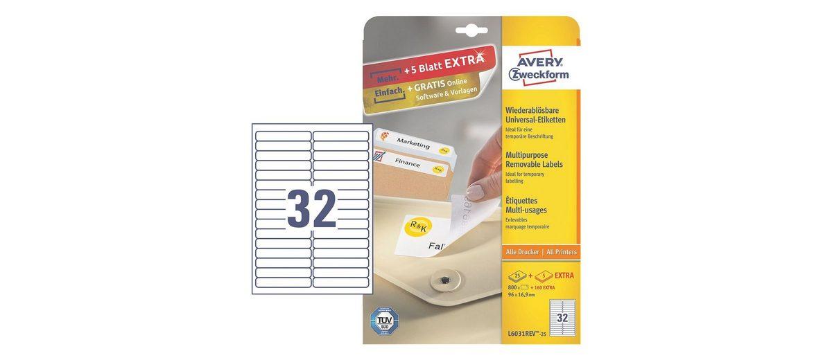 Avery Zweckform 800er-Pack Universal Klebeetiketten »L6031REV-25«