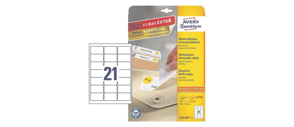 Avery Zweckform 525er-Pack Universal Klebeetiketten »L6023REV-25«