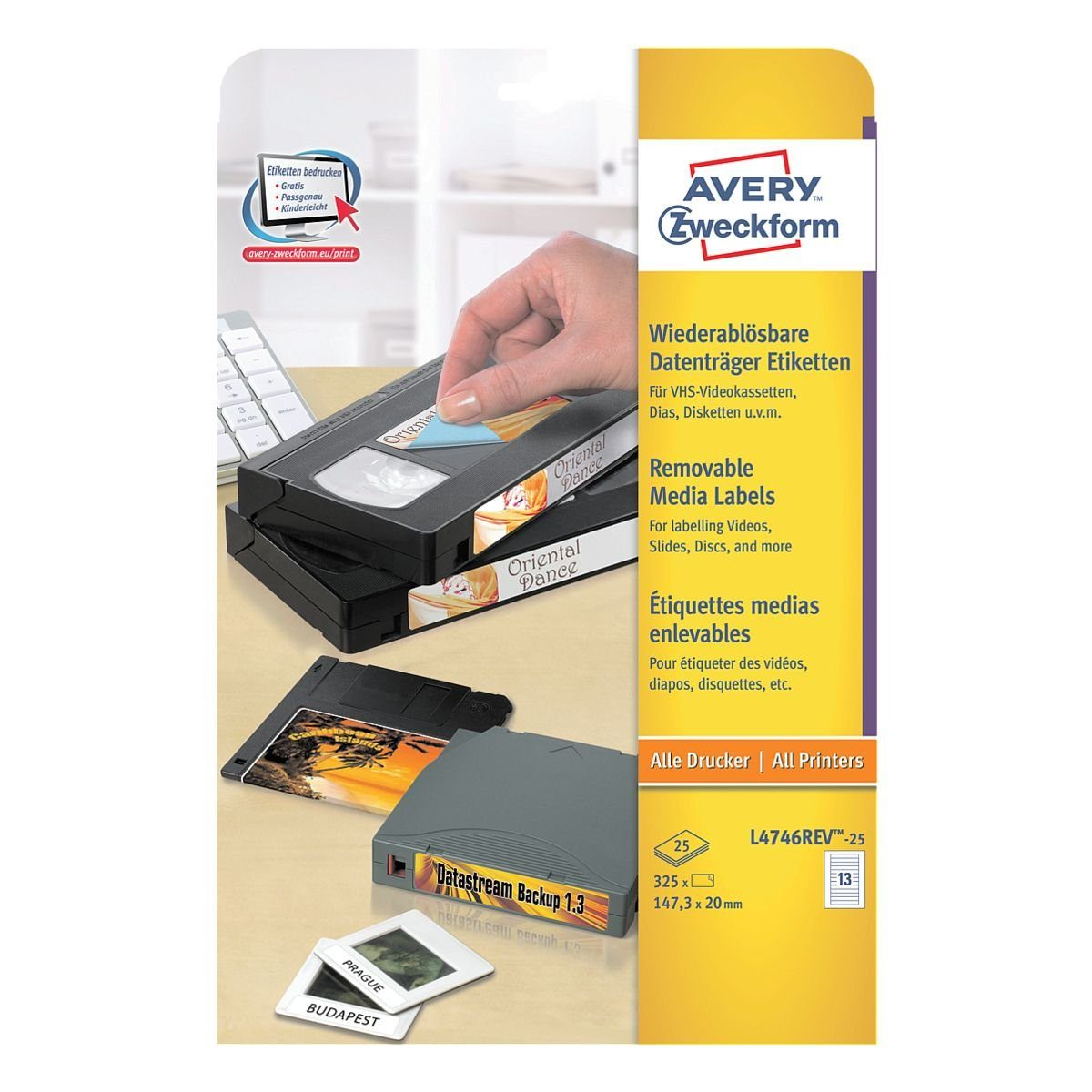 Avery Zweckform 325er-Pack Video-Etiketten »L4746REV-25«