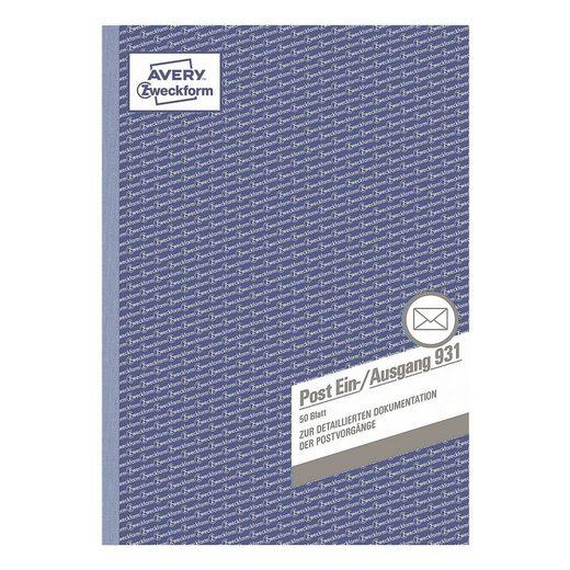 ZWECKFORMAVERY Formularbuch »Post-Ein-/Ausgangsbuch 931«