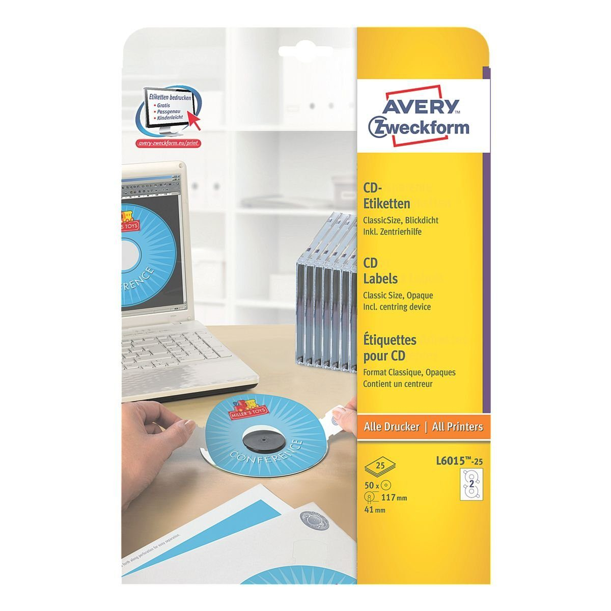 Avery Zweckform 50er-Pack CD-/DVD-Label »L6015-25«