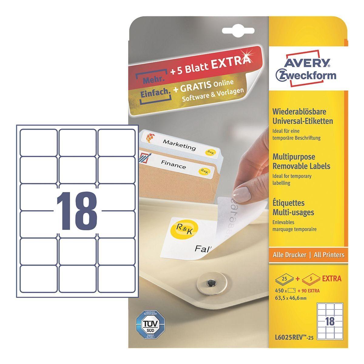 Avery Zweckform 450er-Pack Universal Klebeetiketten »L6025REV-25«