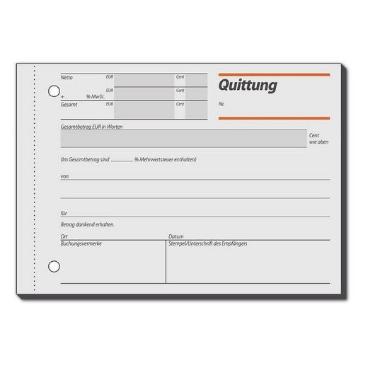Sigel Formularbuch RC021 »Quittung inkl. MwSt.«