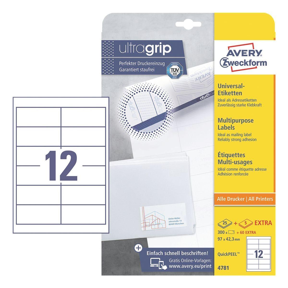 Avery Zweckform 360er-Pack Universal Klebeetiketten »4781«