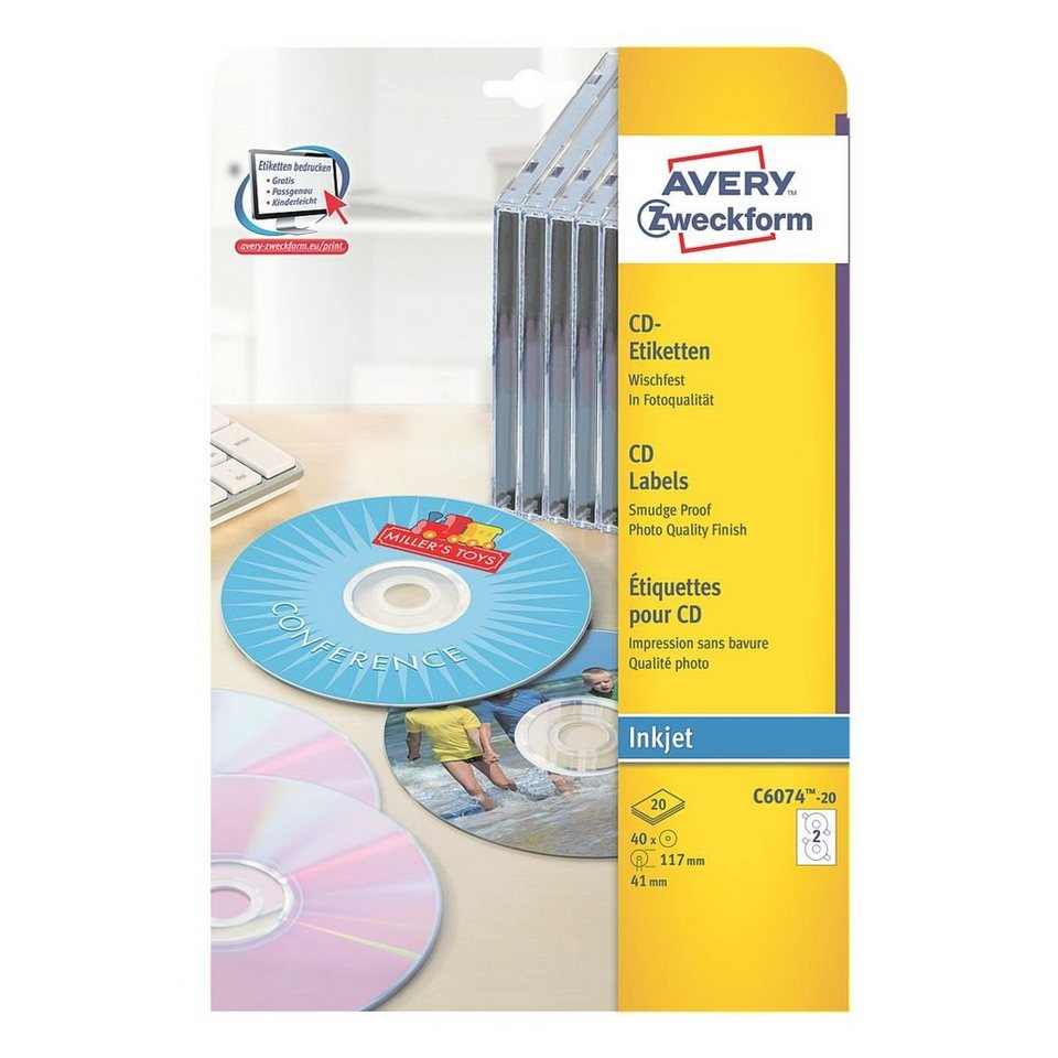 Avery Zweckform 40er-Pack CD-/DVD-Label »C6074-20«